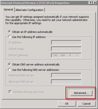 Open the Advanced TCP/IPv4 Properties
