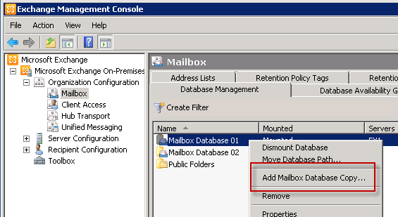 Adding a Mailbox Database Copy in Exchange Server 2010