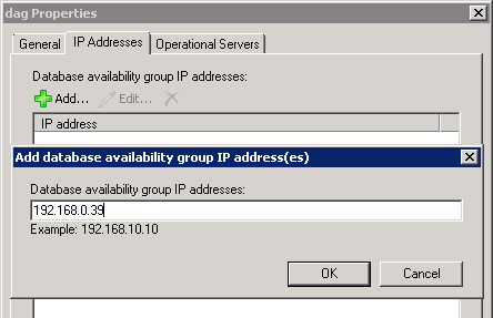 Adding IP addresses to an Exchange Server 2010 Database Availability Group