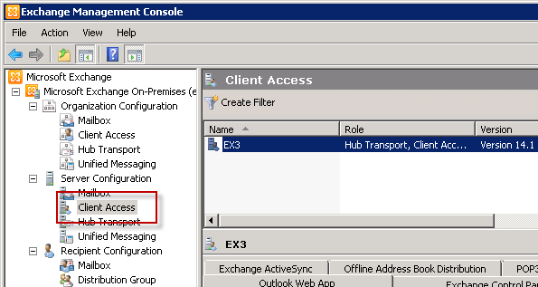 Choose the Exchange Server 2010 Client Access Server to configure for Outlook Anywhere