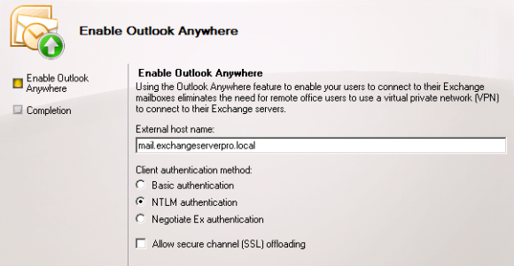 Configure Outlook Anywhere for Exchange Server 2010