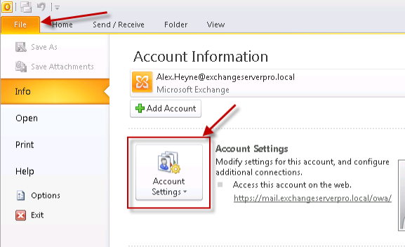 Outlook 2010 Account Settings for Exchange Server 2010 Outlook Anywhere