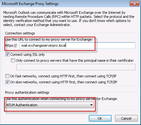 Configure the Outlook Anywhere External Host Name and Authentication Settings in Outlook 2010