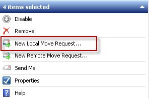 Start a new Local Move Request