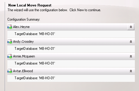 Review the mailboxes to be moved