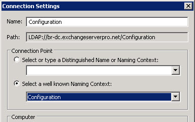 Connect to the Configuration naming context with ADSIEdit