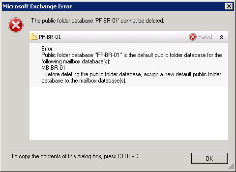 The public folder database cannot be deleted