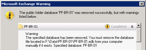 Public folder database successfully removed