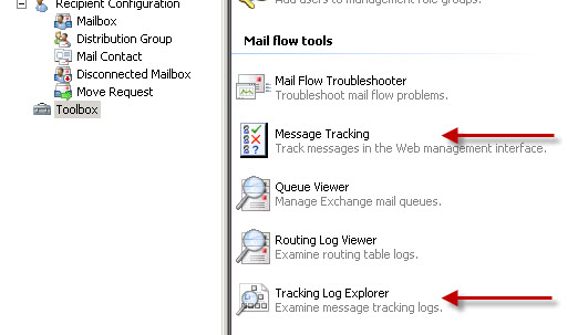 Exchange Management Console Toolbox message tracking tools