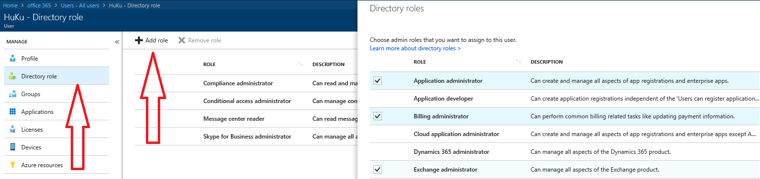 Screen shot showing where to add roles - License Admin in Azure AD