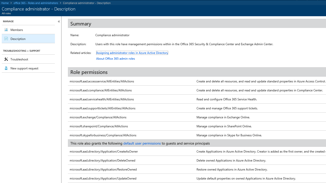 Screen shot showing different role types within Azure AD license management