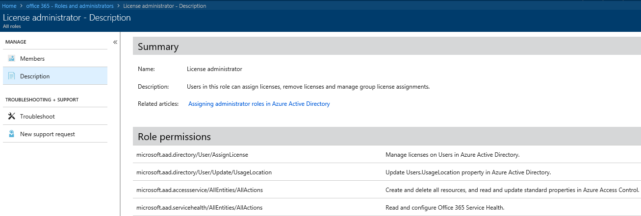 Screen shot showing the new License Admin role feature in Azure AD