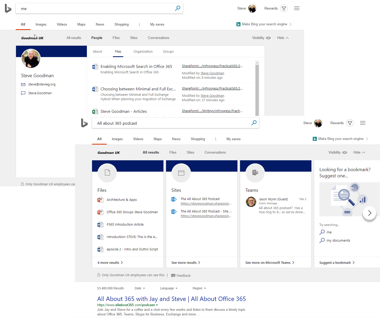 Microsoft Search integrated into Bing