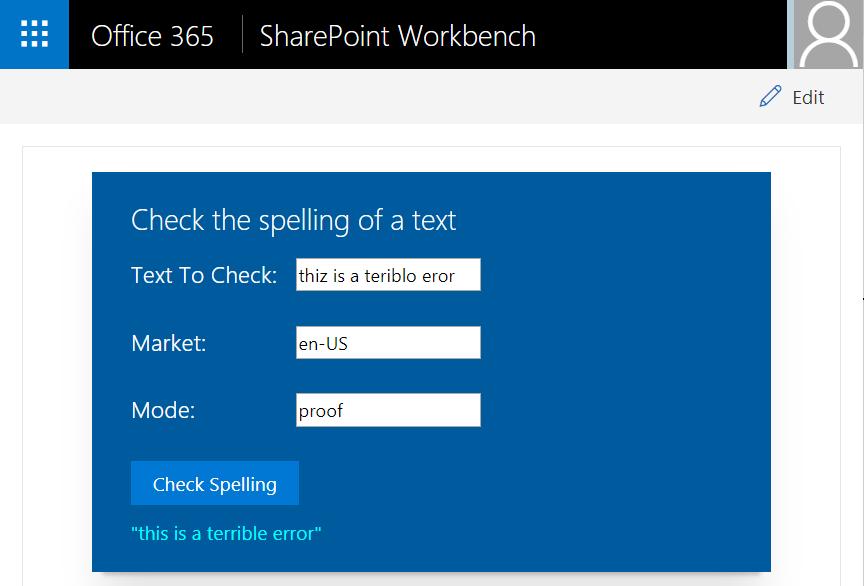 Bing Spell Check Screenshot