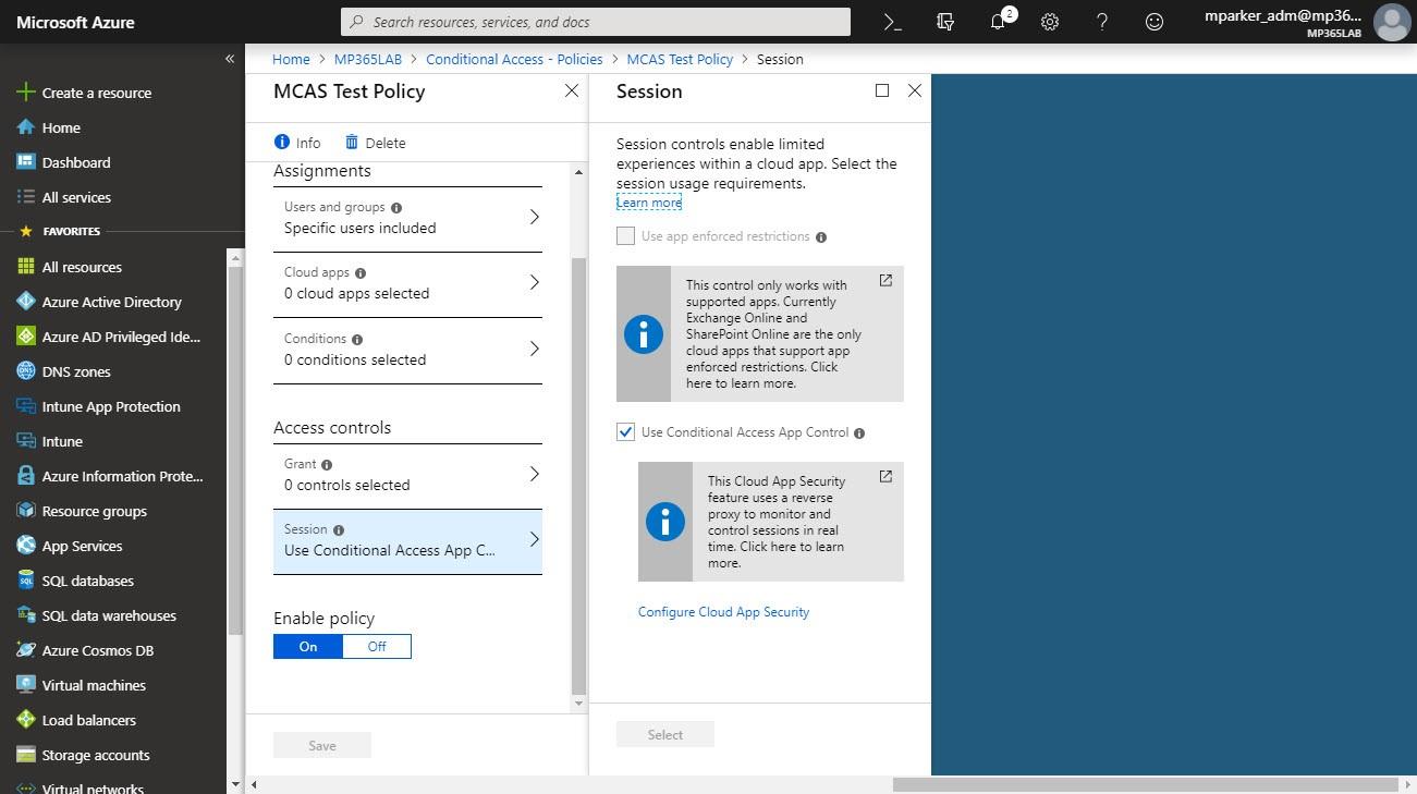 Enforce MCAS protection using the Cloud App Security Portal.