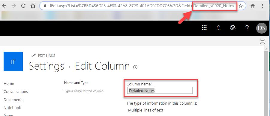 Settings Edit Column