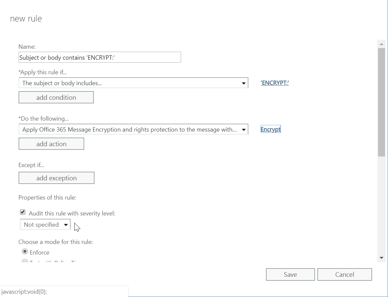 Office 365 Message Encryption screenshot