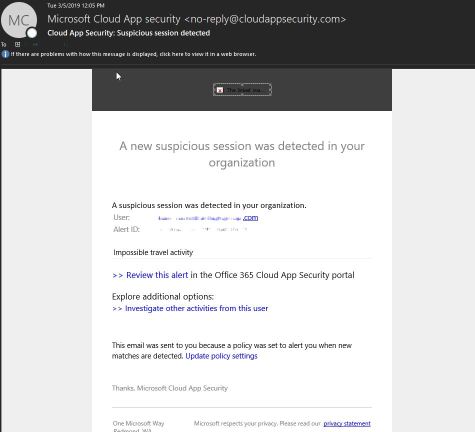 Microsoft Cloud App Security Alerts