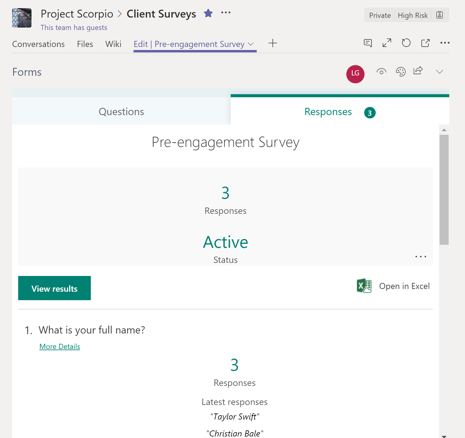 Pre-engagement survey responses on Microsoft Teams