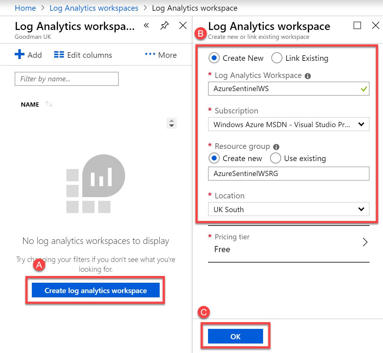 Create a new Log Analytics workspace