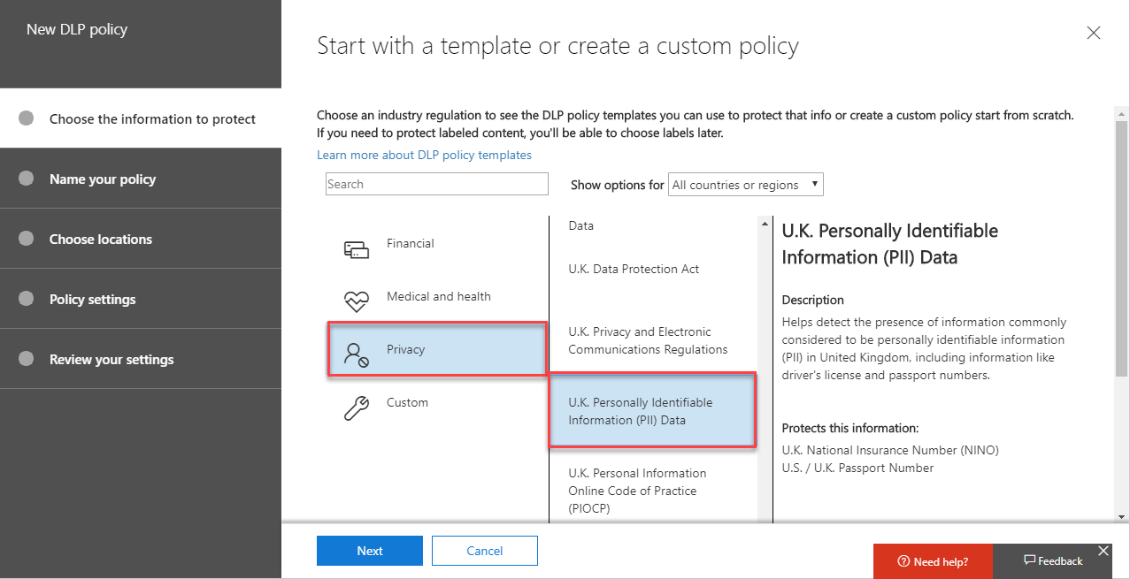 Start with a template or create a custom policy