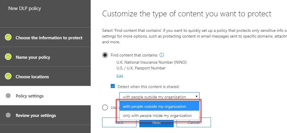 Customise the type of content you want to apply data loss prevention to