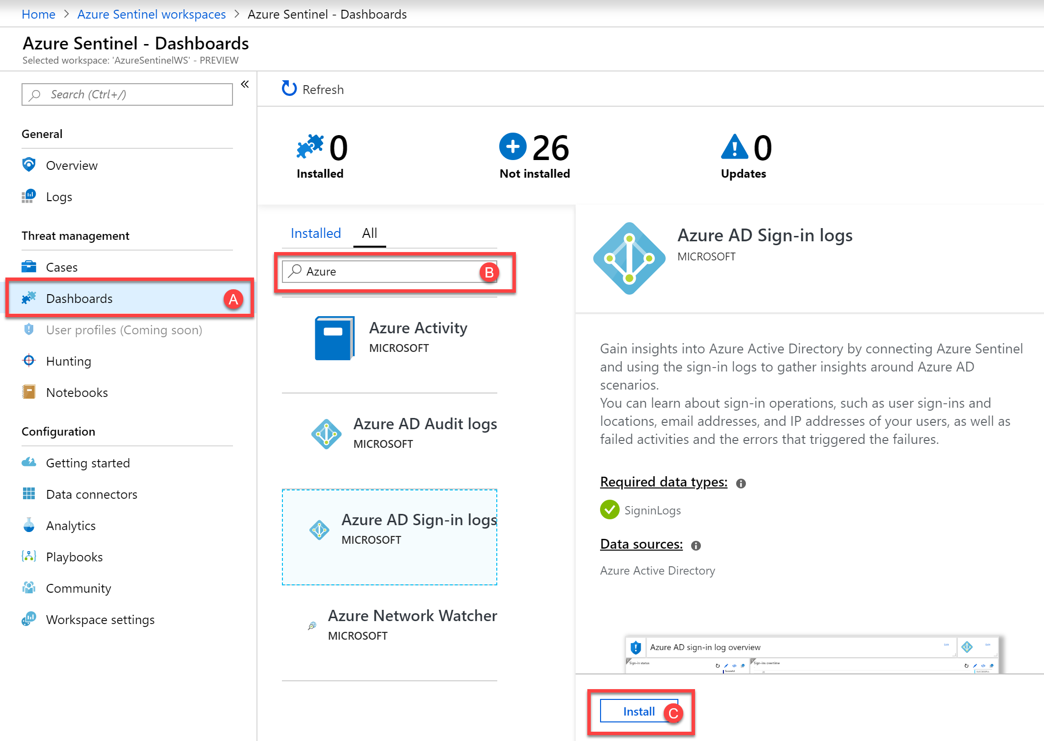 Install the relevant Azure Sentinel Dashboards