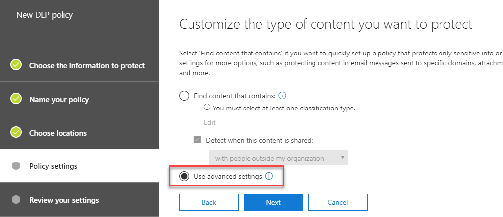 Customize the type of content you want to protect