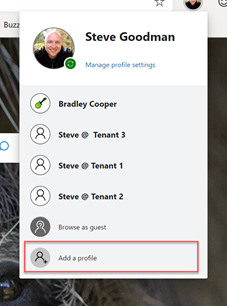 Add a profile option in Edge Preview