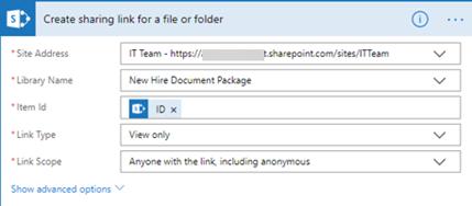Create sharing link file or folder