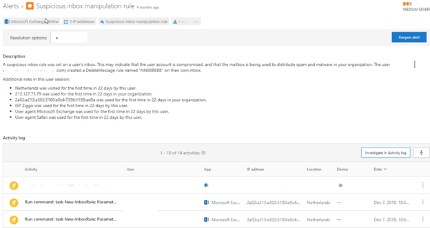 Suspicious inbox manipulation rule alert
