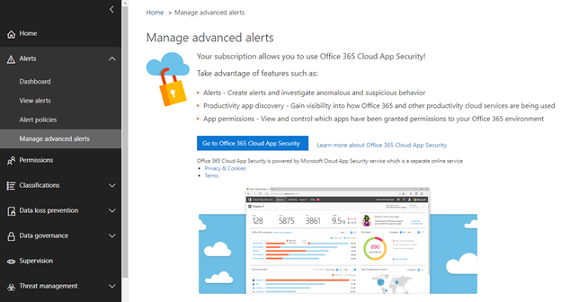 Manage advanced alerts in Cloud App Security